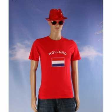 Rode body fit heren shirts met vlag van holland