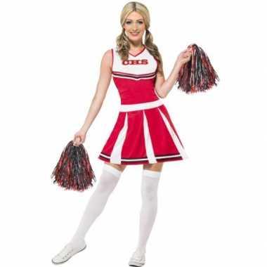 Rode cheerleader carnavalskleding dames