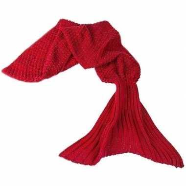 Rode gebreide zeemeermin deken voor meisjes 140 cm