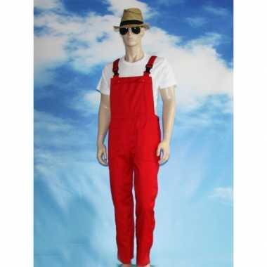 Rode tuinbroek carnavalskledingl voor volwassenen