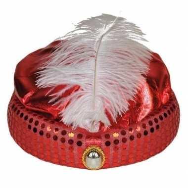 Rood arabisch sultan hoedje met diamant en veer