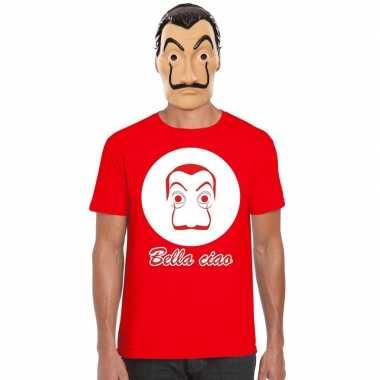 Rood dali t shirt met la casa de papel masker heren
