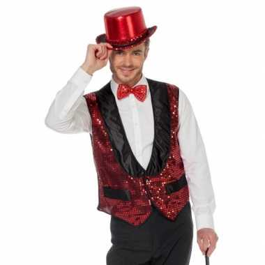 Rood glitter vestje voor heren