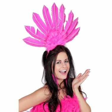 Roze haarband met veren voor dames