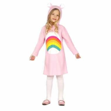 Roze jurkje met regenboog print