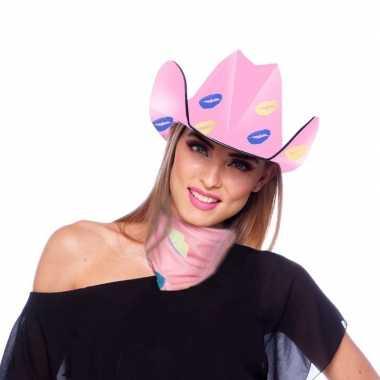 Roze kartonnen cowboyhoed met lippen/kusjes voor dames