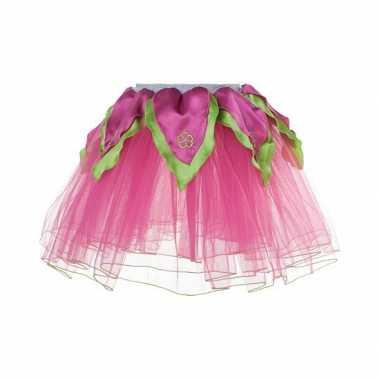 Roze met groen fee verkleed petticoat voor meiden