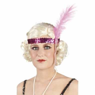 Roze pailletten hoofdband met veer
