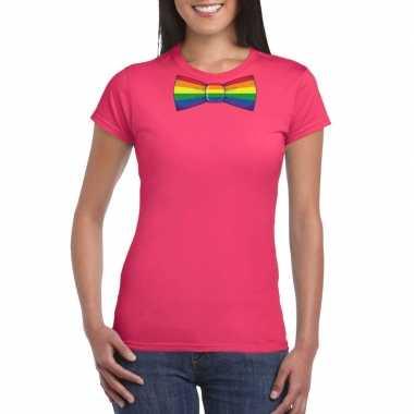 Roze t shirt met regenboog vlag strikje dames