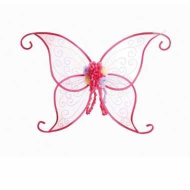 Roze vlinder vleugels bloemen