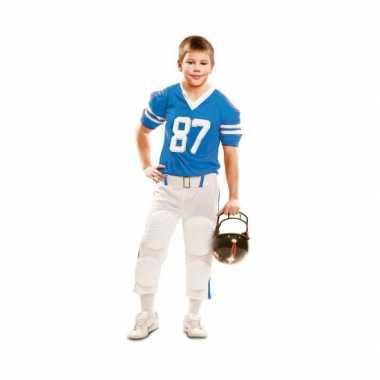 Rugby carnavalskleding wit met blauw voor kinderen