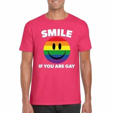 Smile if you are gay emoticon shirt roze heren