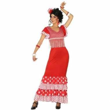 Spaanse flamencodanseres jurk rood verkleed carnavalskleding voor dam