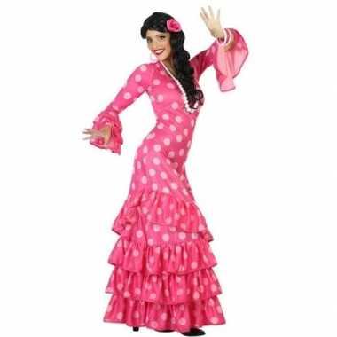 Spaanse flamencodanseres jurk roze verkleed carnavalskleding voor dam