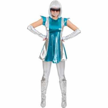 Space carnavalskleding blauw/zilver voor dames