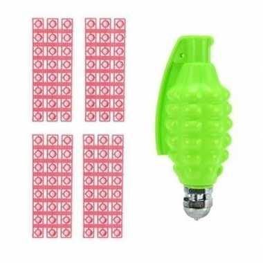 Speelgoed handgranaat met plaffertjes met 96 schoten groen 14 cm