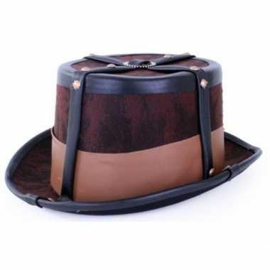 Steampunk hoed bruin