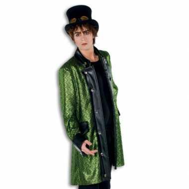 Steampunk thema carnavalskleding groene jas