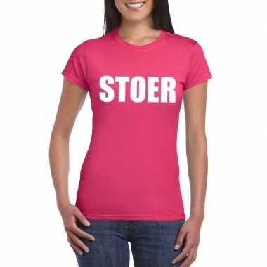 Stoer tekst t shirt roze dames