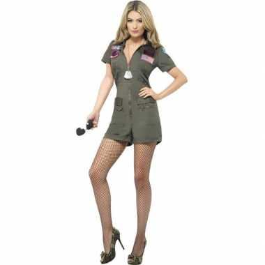 Straaljager piloten top gun carnavalskleding kort voor dames