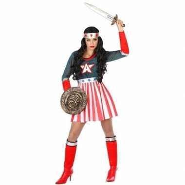 Superheld amerikaanse kapitein verkleed pak/carnavalskleding voor dam