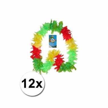 Surinaams gekleurde hawaii kransen 12x