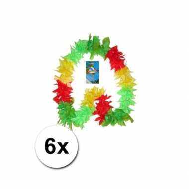 Surinaams gekleurde hawaii kransen 6x