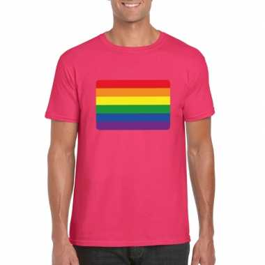 T shirt met regenboog vlag roze heren