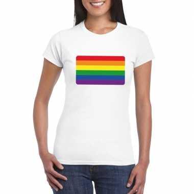 T shirt met regenboog vlag wit dames