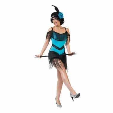 Toppers blauw/zwart charleston verkleed jurkje voor dames