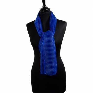 Toppers blauwe glitter pailletten disco sjaal