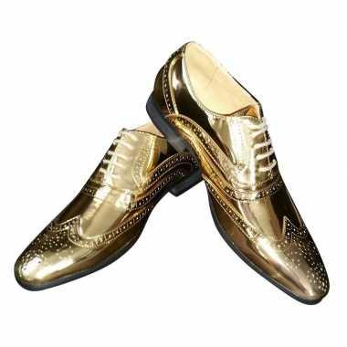 Toppers gouden glimmende brogues/disco schoenen voor heren