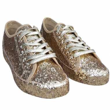 Toppers gouden glitter disco sneakers/schoenen voor dames