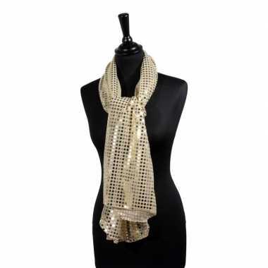 Toppers gouden glitter pailletten disco sjaal