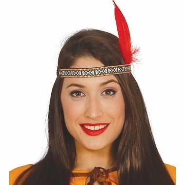 Toppers indianen verkleed hoofdband met rode veer voor volwassenen
