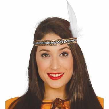Toppers indianen verkleed hoofdband met witte veer voor volwassenen