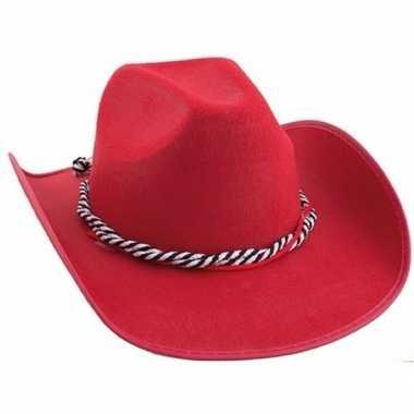 Toppers rode cowboyhoeden met koord