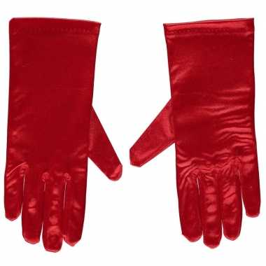 Toppers rode gala handschoenen kort van satijn 20 cm