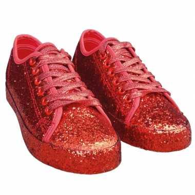 Toppers rode glitter disco sneakers/schoenen voor dames