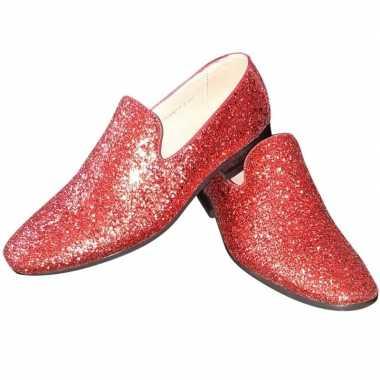 Toppers rode glitter pailletten disco loafers/instap schoenen voor he
