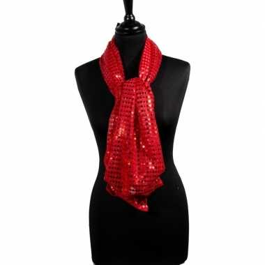 Toppers rode glitter pailletten disco sjaal