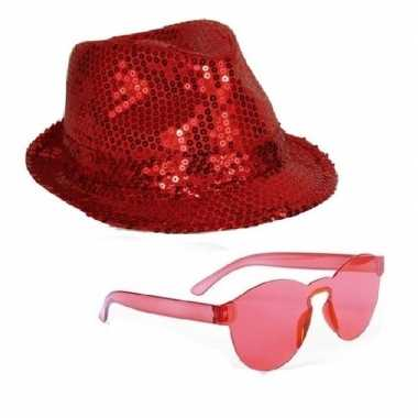 Toppers rood trilby glitter party hoedje met rode zonnebril