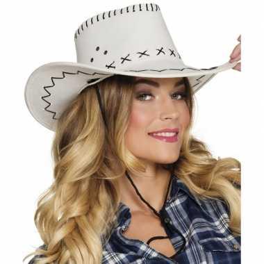 Toppers witte cowboyhoed elroy lederlook voor volwassenen