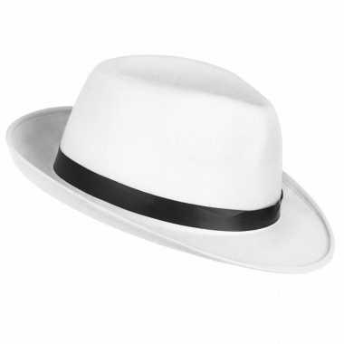 Toppers witte maffia gangster hoed voor volwassenen