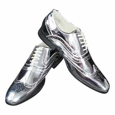 Toppers zilveren glimmende brogues/disco schoenen voor heren