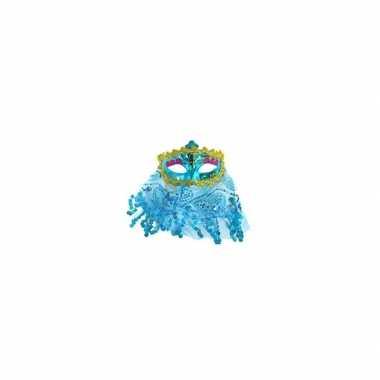 Turquoise oogmasker met glitters