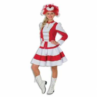 Twirl carnavalskleding voor dames rood met wit