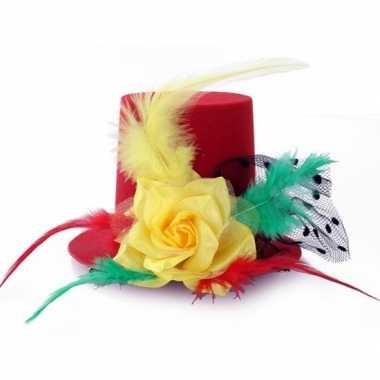 Verkleed mini hoge hoed rood/geel/groen voor dames