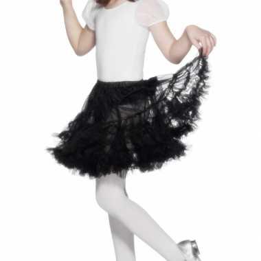 Verkleed petticoat zwart voor kinderen