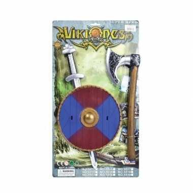 Viking zwaard met rood/blauw schild en bijl set